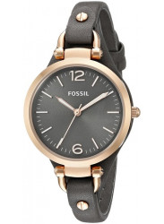 Fossil Women's Georgia Smoke Dial Grey Leather Watch ES3077