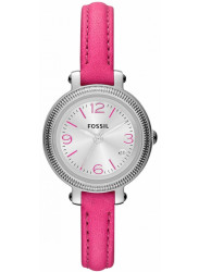 Fossil Women's Heather Silver Dial Pink Leather Watch ES3302