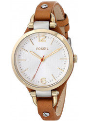 Fossil Women's Georgia White Dial Brown Leather Watch ES3565
