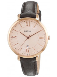 Fossil Women's Jacqueline Rose Dial Grey Leather Watch ES3707
