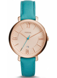Fossil ES3736 Lady's Rose Gold Dial Blue Leather Strap Date Watch