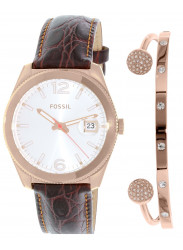 Fossil Women's Perfect Boyfriend Brown Leather Watch ES3770SET