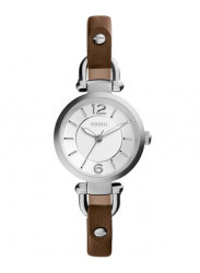 Fossil ES3861 Georgia Silver Dial Brown Leather Ladies Watch