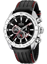 Festina Men's Chrono Sport Black Dial Black Leather Watch F16489/5