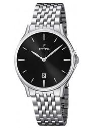 Festina Men's Classic Metal Black Dial Stainless Steel Watch F16744/4