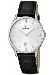 Festina Men's Classic Metal Silver Dial Black Leather Watch F16745/2