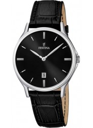 Festina Men's Classic Leather Black Dial Black Leather Watch F16745/5
