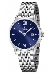 Festina Women's Classic Metal Blue Dial Stainless Steel Watch F16748/3