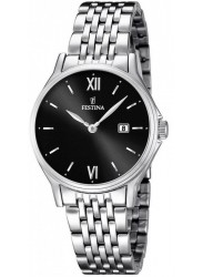 Festina Women's Classic Metal Black Dial Stainless Steel Watch F16748/4
