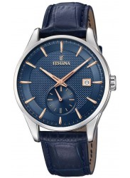 Festina Men's Retro Blue Dial Blue Leather Watch F20277/2