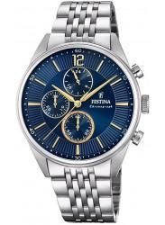 Festina Men's Timeless Chrono Blue Dial Stainless Steel Watch F20285/3