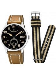 Festina Men's Box Set Black Dial Brown Leather Watch F20347/6