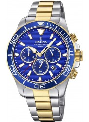 Festina Men's Prestige Chronograph Blue Dial Two Tone Stainless Steel Watch F20363/2