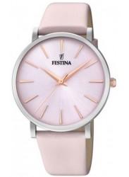 Festina Women's Boyfriend Pink Dial Pink Leather Watch F20371/2