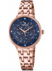 Festina Women's Mademoiselle Blue Crystal Dial Rose Gold Stainless Steel Watch F20384/3