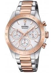 Festina Women's Boyfriend Chronograph Silver Dial Two Tone Watch F20398/1