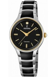 Festina Women's Ceramic Black Dial Two Tone Ceramic Watch F20474/4