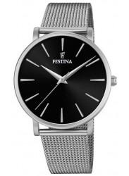 Festina Women's Boyfriend Black Dial Mesh Stainless Steel Watch F20475/4