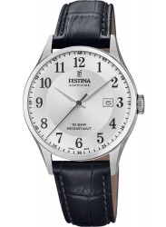 Festina Men's Swiss Made White Dial Black Leather Watch F20007/1