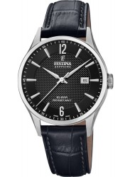 Festina Men's Swiss Made Black Dial Black Leather Watch F20007/4