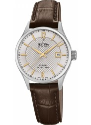 Festina Women's Swiss Made Silver Dial Brown Leather Watch F20009/2