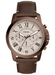 Fossil Men's Grant Chronograph Grey Dial Brown Leather Watch FS5344