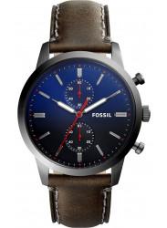Fossil Men's Townsman Chronograph Dark Blue Dial Grey Leather Watch FS5378