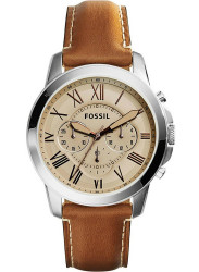 Fossil Men's Grant Chronograph Beige Dial Brown Leather Watch FS5118