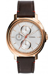 Fossil Women's Chelsey White Dial Brown Leather Watch ES3594