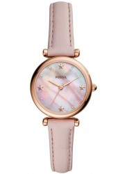 front face of Fossil Women's Mother of Pearl Dial Pink Leather Carlie Mini Watch ES4525