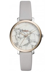 front face of Fossil Women's White Marble Dial Grey Leather Jacqueline Watch ES4377