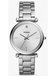 Fossil Women's Carbon Silver Dial Stainless Steel Watch ES4440