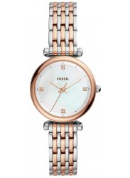 Fossil Women's Carlie Mother of Pearl Dial Two Tone Stainless Steel Watch ES4431