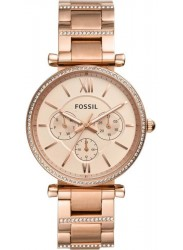 Fossil Women's Carlie Multifunction Rose Gold Dial Rose Gold Stainless Steel Watch ES4542