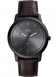 Fossil Men's Minimalist Black Dial Brown Leather Watch FS5573