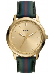 Fossil Men's Minimalist Gold Dial Striped Green Leather Watch FS5598