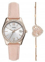 Fossil Women's Scarlette Mini Silver Dial Pink Leather Watch Set ES4607SET