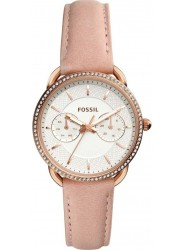 Fossil Women's Tailor White Dial Pink Leather Watch ES4393