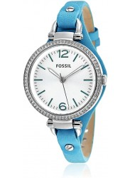 Fossil Women's Georgia Blue Leather Strap Watch ES3474