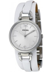 Fossil Women's Georgia Silver Dial White Leather Watch ES3246