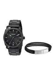 Fossil Men's Machine Black Dial Black Ion-Plated Stainless Steel Watch And Bracelet Set FS5393SET