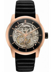 Kenneth Cole Men's Skeleton Dial Black Leather Watch 10030789