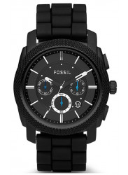 Fossil Men's Machine Chronograph Black Dial Black Silicone Watch FS4487