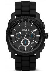 Fossil Men's Machine Chronograph Black Dial Black Silicone Watch FS4487