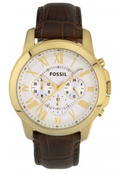 Fossil Men's Grant Chronograph Brown Leather Watch FS4767
