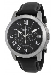 Fossil Men's Grant Chronograph Black Leather Watch FS4812