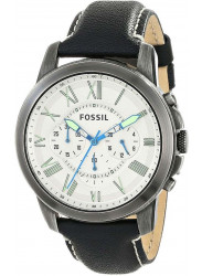 Fossil Men's Grant Chronograph Black Leather Watch FS4921