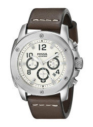 Fossil Men's FS4929 Modern Machine Stainless Steel Watch with Brown Leather Band