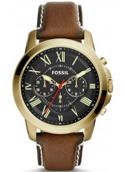 Fossil Men's Grant Black Dial Brown Leather Watch FS5062