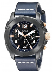 Fossil Men's Modern Machine Chronograph Blue Leather Watch FS5066